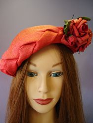 Vintage Red Satin with Floral