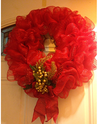 Red Mesh Wreath
