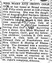 Cole, Mary Ann Hott 1936