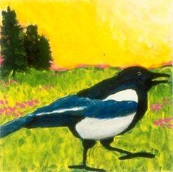 Running Magpie, Tempera, 4x4, Original Sold