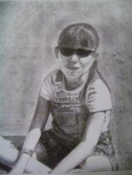 Seated blind girl