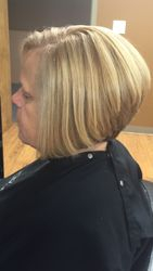 Stacked, Angled Bob with Highlights