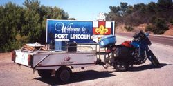 Tom's K75RT & Camper Trailer at Port Lincoln on the way to the 1998 AGM Bunbury - Mar 1998