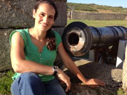 On the Garrison Walls on St Mary's alongside an 18-lb cannon
