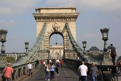 Chain bridge in Budapest - closed for festival