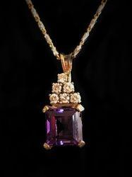 14k Amethyst and Diamond Pendant