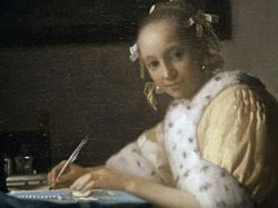 Vermeer, Woman Writing a letter, detail, Washington