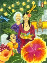 Hibiscus - Three Generations, 11x14, Watercolor and Colored Pencil, Carrie MaKenna 2001