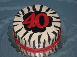 Zebra 40th Cake