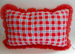 Red checked pillow on Etsy