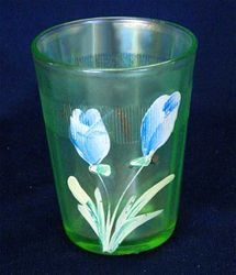 (Enameled) Dianthus/Crocus tumbler with prism band, ice green