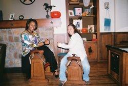 Horsin' around with Cherita M. Hopper and Sandee Daniels.