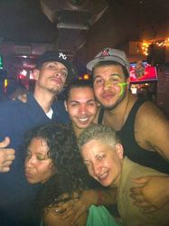 Clockwise from bottom left: Desiree, Truth, Astraeus, Giovanni & Carmen striking a pose at Carmen & Patty's Birthday Celebration (502 Bar Lounge's Social Saturday Karaoke Night)!