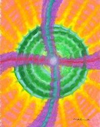 A Spiraling Crossroads of Shining Life Force Mandala, Oil Pastel, 11x14, Original Sold