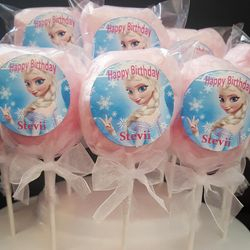 Frozen cotton candy pops