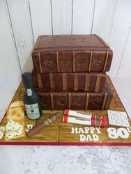 80th Birthday Leather Books Cake