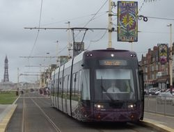 Flexity 009 with Blackpool Tower