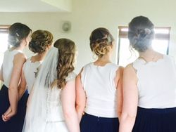 Our Beautiful Bride Chloe half up/down curls and her bridesmaids with plait and elegant updo