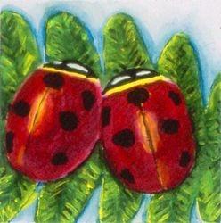 Ladybug Love, Tempera, 4x4, Original Sold