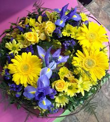 Blue and Yellow Funeral Wreath