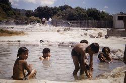 Maori children in pools 1955