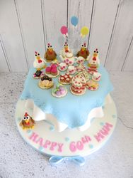Chicken and Afternoon Tea themed birthday cake