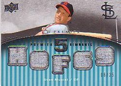 Stan Musial 2008  Upper Deck Premier 5 Remnants Game Used 6/25