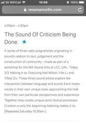'Sonic Textual Processes' on Resonance FM