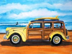 Yellow Woodie at the Beach