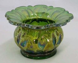 Inverted Strawberry spittoon, green,Cambridge Glass USA,