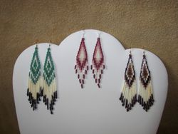 Stacked Bugles/Seeds Quill Earrings $37.50, Stacked Seed/Bugle Earrings $30.00, Stacked Bugles/Seeds Quill Earrings