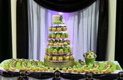Green and purple wedding cupcake tower
