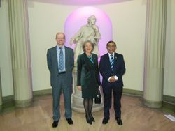 Miss Clare Marx, President Royal College of Surgeons, With Mike Pinkerton, CEO Doncaster Royal Infirmary & Shahed Quraishi Director, ENT Masterclass