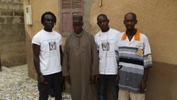 Tamsier Joof, Demba Sene, Professor Issa Laye Thiaw and Momodou Secka at Prof. Thiaw's house in Diamagane