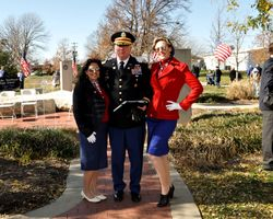Lana Betty & Mica Betty with Lt. Col. Matthew Bedwell, keynote speaker at this year's ceremony.
