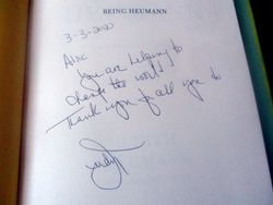 Detail of Autograph on Front Page of Being Heumann: An Unrepentant Memoir of a Disability Rights Activist