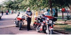 Mark with our Bikes at the 1994 AGM Alice Springs Camping area - April 1994