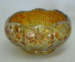 Cosmos and Cane rose bowl, in honey amber, U.S. Glass