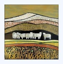 Sheep in Golden grasslands