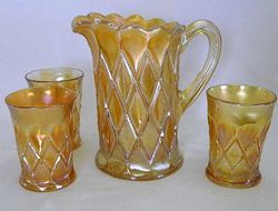 Millersburg Diamonds part water set, marigold