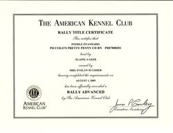 Penny RA title certificate