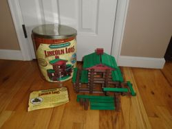 Lincoln Logs Commemorative Edition Tin- ALL WOOD PIECES - $40