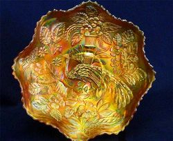 Peacock and Urn ruffled bowl - marigold