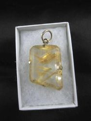 09-00118 Faceted Rutilated Quartz Pendant in Silver