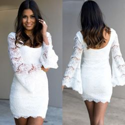 white lace hollow flare sleeve mini dress.jpg