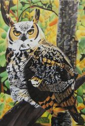 Bubo the Great Horned Owl (oil on canvas) In Private Collection