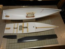 Deck and hull ready to glue together.