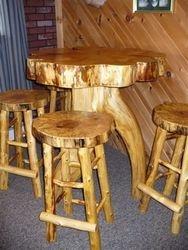 White Pine/White Cedar pub table w/Maple seat stools
