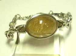 09-00131c Gold Rutilated Quartz Cabochon Sterling Link Bracelet