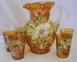 (Enameled) Magnolia and Drape 6pc. water set, marigold